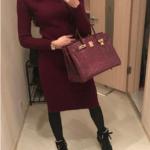 Теплое трикотажное платье с Aliexpress