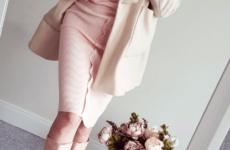 Теплое трикотажное персиковое платье на Aliexpress