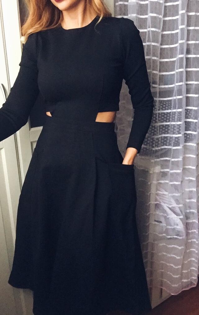 Стильное, но скромное черное платье с Aliexpress