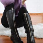 Кожаные сапоги с молнией посередине с Aliexpress за 4000 рублей