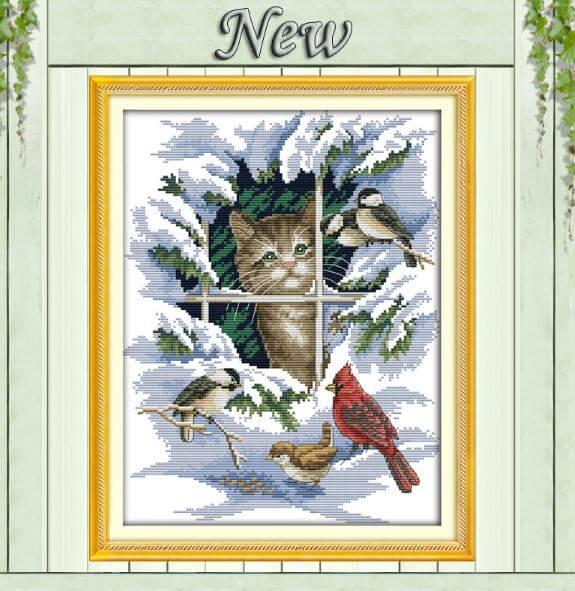 Набор для вышивки крестиком Котята и птицы ~ 360 руб