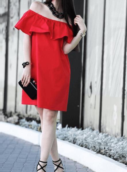 Платье с открытыми плечами ~ за 500 руб.