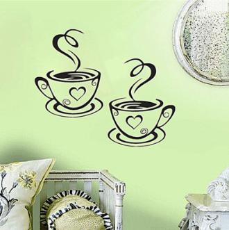Декоративная наклейка на стену « Кофейные чашки» ~ 81 руб
