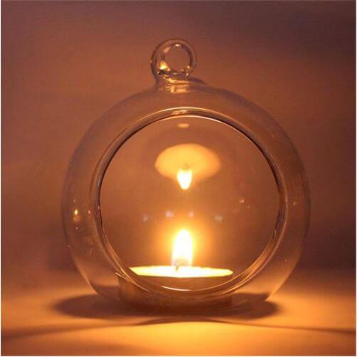 Стеклянный подвесной подсвечник «Капля» ~ 140 руб