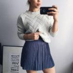 Плиссированная юбка пыльно-голубого цвета с Aliexpress за 1300 рублей