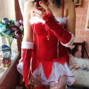 Новогодний костюм снегурочки для взрослых с Aliexpress за 1700 рублей