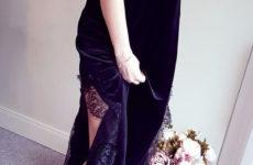 Бархатное платье с круживом с Aliexpress за 1750 рублей