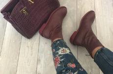 Кожаные ботинки в винном цвете c Aliexpress за 4200 рублей