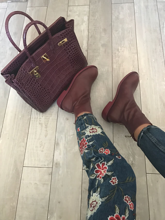 Кожаные ботинки в винном цвете c Aliexpress