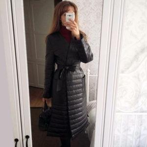 Синтепоновое пальто-халат из кожзама c Aliexpress за 2500 рублей