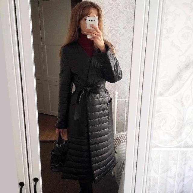 Синтепоновое пальто-халат из кожзама c Aliexpress