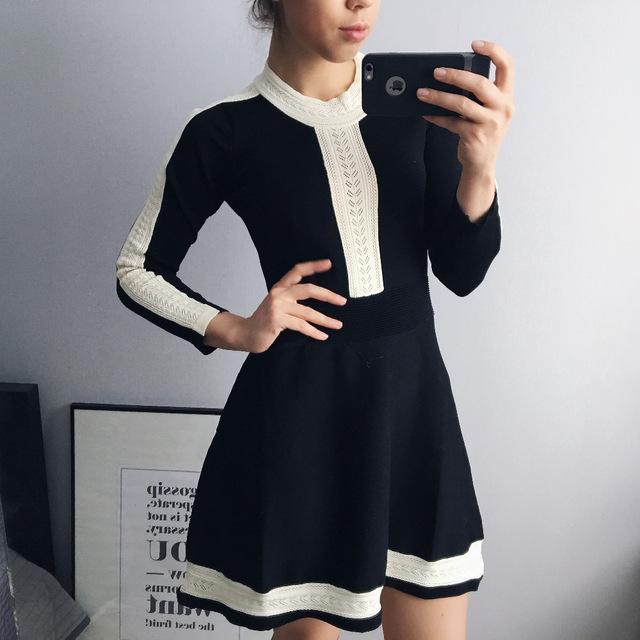 Стильное черное платье с имитацией шитья с Aliexpress