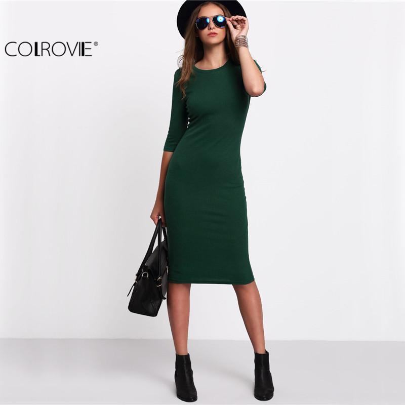 Тёплое зелёное платье ~ 743 руб