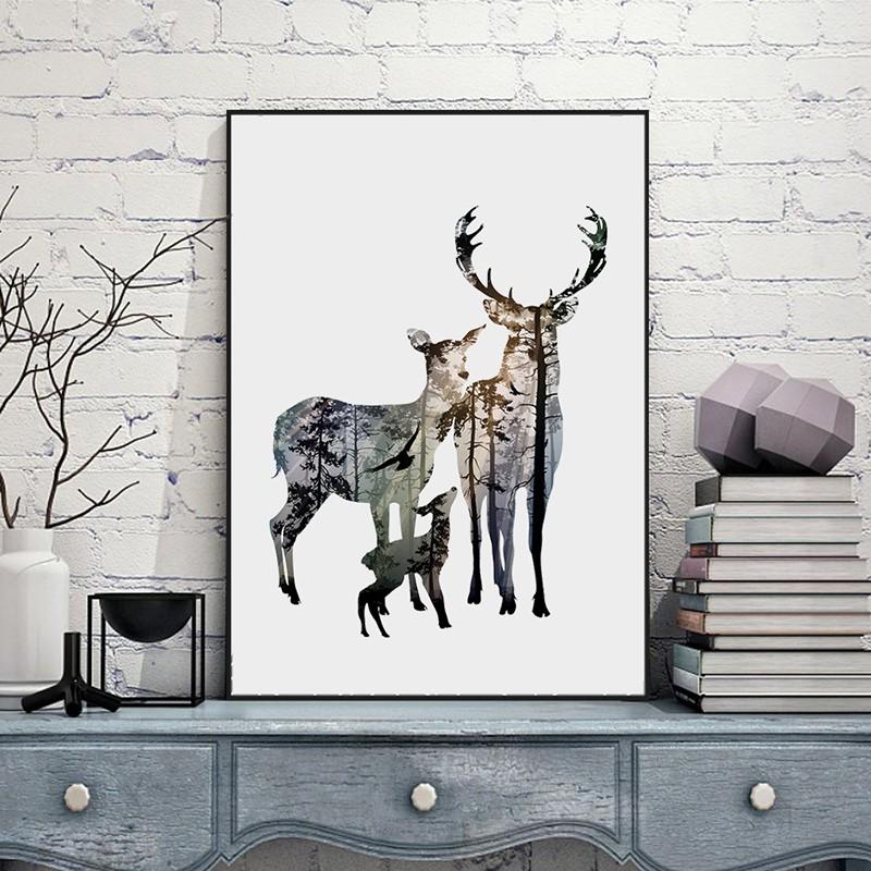 Картина «Силуэт оленя в сосновом лесу»  ~ 500 руб